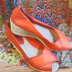 Ralph Lauren orange silk peep toe wedges, 7